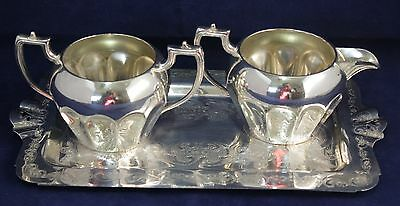 Silver Plate Cream & Sugar Set with Tray - W.M. Rogers, Hamilton, Canada