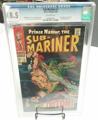 Sub-Mariner (1968 1st Series) #2 CGC 8.5 Triton Battle and Inhumans Appearance