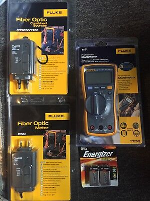 Fluke 115 Multimeter FOS 850/1300 Fiber Optic Source FOM Fiber Optic Power Meter