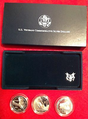 Three coin US Veterans Commemorative set 1994 proof