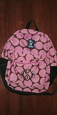 Wildkin backpack, pink & brown big dots. monogram ESL