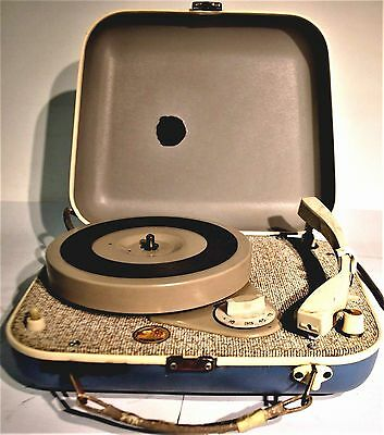 """HIS MASTERS VOICE"" MINIGRAM Blue vintage retro PORTIBLE  RECORD PLAYER"