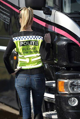 Equisafety Polite Waistcoat Please Slow Down - Rider Safety Wear