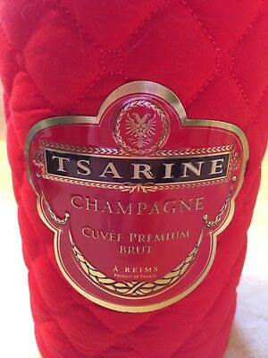 Tsarine Champagne Cuvée Premium Brut Empty Red Quilted Fabric Empty Cylinder