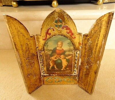 Antique french german icon catholic church wood handpainted gold lily flower