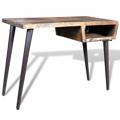 Rustic Home Office Desk Workstation Writing Table Reclaimed Wood w/ Iron Legs