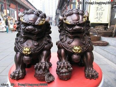 Chinese Copper Bronze Feng Shui Guardian Evil Door Bei Jing Fu Foo Dog Lion Pair