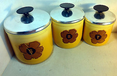 Retro Vintage Aluminium Nesting Canister Set of 3, Yellow, Brown Flower (6023)
