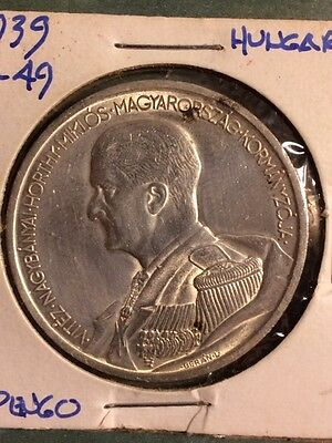 1939 Hungary 5 Pengo Silver Coin In A/U-XF Condition!! Admiral Horthy!