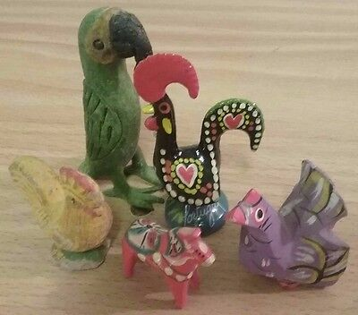 Lot of Colorful and Vintage Animal Figurines Wood & Porcelain