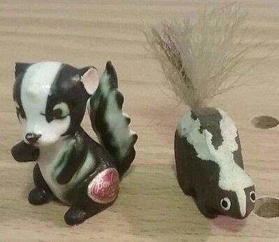 Vintage Skunk Figurines: Porcelain Made in Japan & Handmade Wood Figurines
