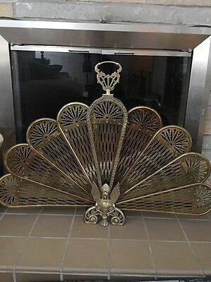 ANTIQUE VINTAGE BRASS FIREPLACE FIRE SCREEN GUARDIAN LION Griffin Peacock *RARE*