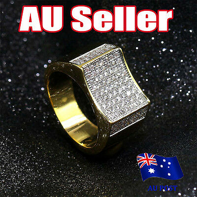 MEN'S 14K Gold Finish Micro-ICED OUT LAB Diamond Creative Hiphop Ring BO