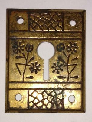 Vintage Square Brass Escutcheon Key Hole Cover Plate Flower         #48