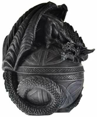 "Celtic Dragon Box 6 1/2"" X 4"" highly detailed cold cast resin box Santeria"