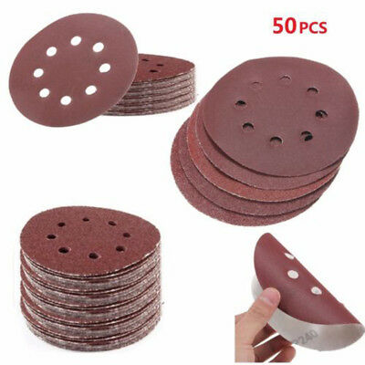 50PCS 125mm Sanding Disc 8 Hole 40 60 80 120 240 Grit Orbital Paper Punch Sheet