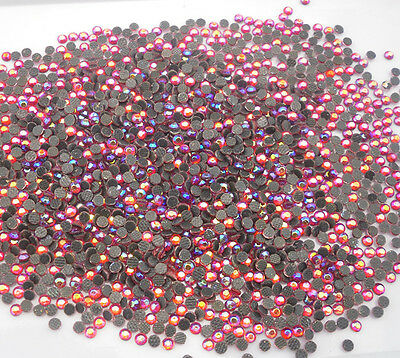 SS6 Hotfix iron red AB 2mm glass Crystal Multiple facet Flat Back Rhinestones