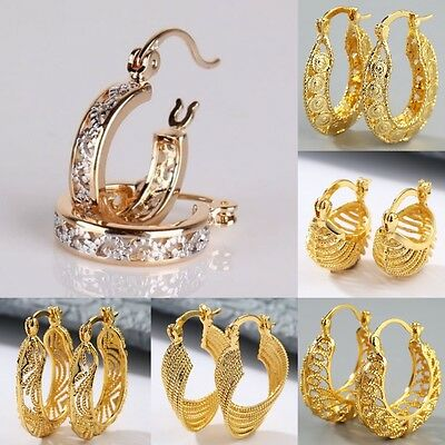 Fashion Women 18K Yellow Gold Filled Stud Hoop Dangle Earrings Wedding Jewelry