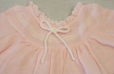 Baby Girls Pink  / White 2 Piece Knitted Set Size 3-6 months