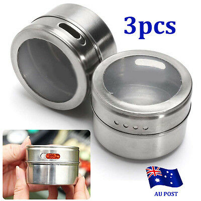 3x Magnetic Spice Tin Stainless Steel Storage Containers Jars Clear Lid Silver B
