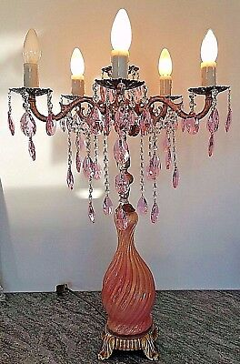 Vintage Reconstructed Chandelier Table Lamp Pink and Clear Crystal and Brass
