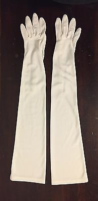 Vintage 60s Womens White Nylon Stretch Opera Gloves Above The Elbow Size 7 1/2