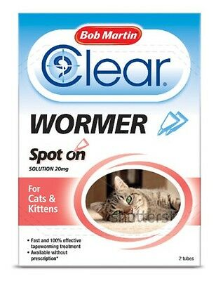 Bob Martin Transparent Spot On Vermifuge Pour Chats & Chatons Chat & Chien