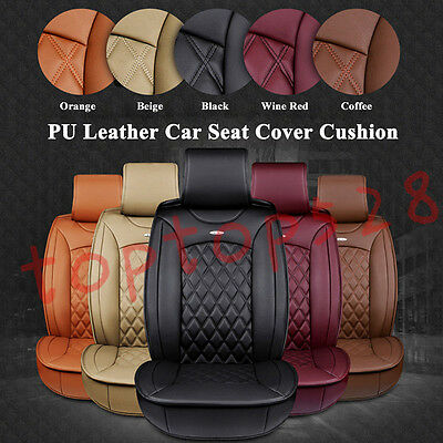 Luxury Car Front Rear Seat PU Leather Car Seat Cover Cushion 3D Full Surrounded