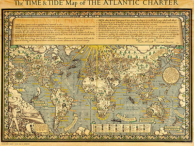 The Time & Tide Map of The Atlantic Charter 1942 A1+ Canvas Art Print