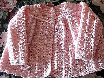 LOVELY HAND KNITTED MATINEE COAT in PINK size 0 - 6 MONTHS (2)