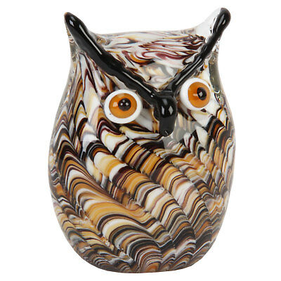 Glass Animal Paperweights Figurine Collectable Gift Ornament Brown Swirl Owl