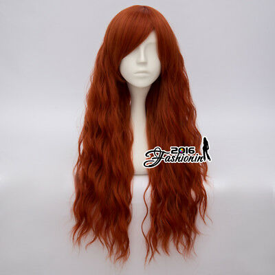 70cm Curly Long Dark Orange Party Women Anime Cosplay Fancy Full Wigs + Wig Cap