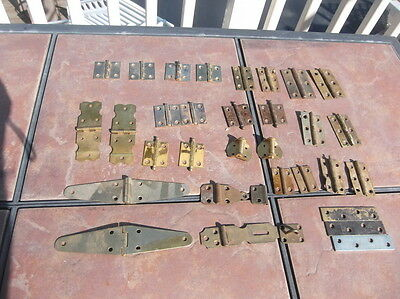 Lot of 13 Vintage Sets of Brass Cabinet Door or Lid Hinges With Extras