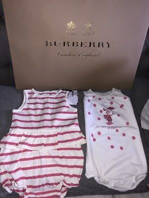 🎁Burberry baby Pink Romper Top Shorts + Blanket Outfit Age 12 months Girls