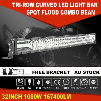 """Curved 52""""INCH 3000W Quad Row LED Work Light Bar Combo Lamp For Ford 4WD SUV 50"""""""