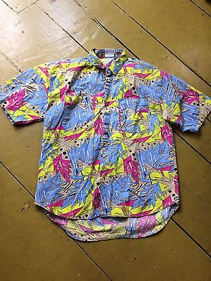 Awesome Vintage 90s Neon Funky Abstract Hawaiian Shirt Retro L