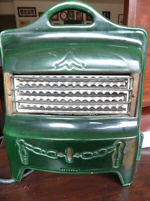 Reduced Antique Art Deco Green Cast Iron Heater In Vg Working Order