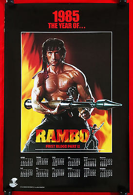 RAMBO - FIRST BLOOD II -Original Rare Rolled Vintage 1985 Movie Poster -Stallone