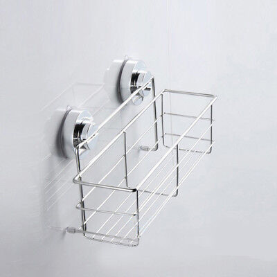 Stainless Steel Rustproof Bath Shower Suction Caddy Bathroom Storage Basket Tidy