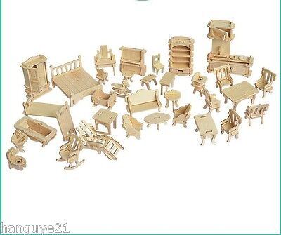 New 34Pc Furniture Dollhouse Model Vintage House Miniature Wooden Architecture