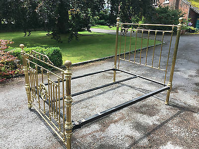 "Antique Brass King Size 5' x 6'6"" (60x80"") Victorian Bed"