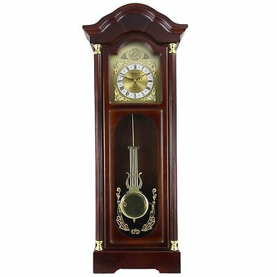 "33"" Antique Wall Clock with Pendulum Roman Numerals Chiming Classic Wood Decor"