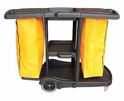Dual Janitorial Cleaning Cart Trolley Yellow 2 Bags Hotel Office Service Cart