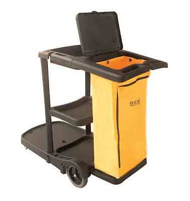 Janitorial Cleaning Cart Trolley Yellow 1 Bag Hotel Office Service Cart