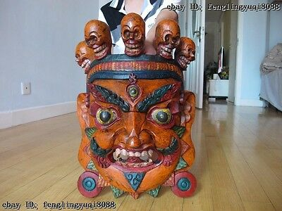 Tibet Buddhism Old Wood Handwork Carve Painted Mahakala Buddha Head Mask Statue