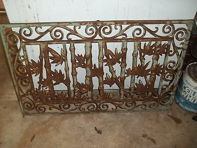 "Vintage Cast Iron Grate Vent Architectural Ornate Design 29"" X 17.75"" X 1/2"""