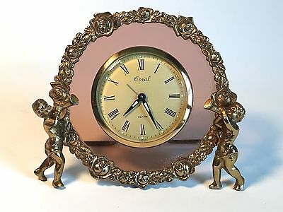 ANTIQUE CORAL NUDE ART DECO MANTEL CLOCK - Coloured Glass, Brass Surround, Rose