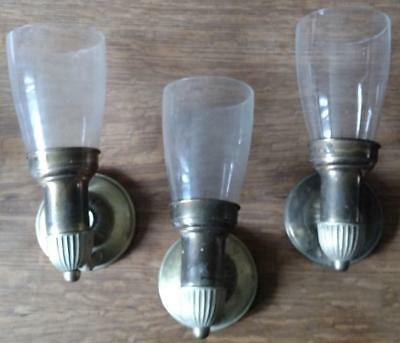 3 Vintage Brass Wall Sconces Colonial w/ Glass Shades Lot