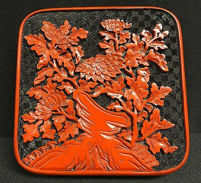 Chinese Cinnabar Carved Square Box