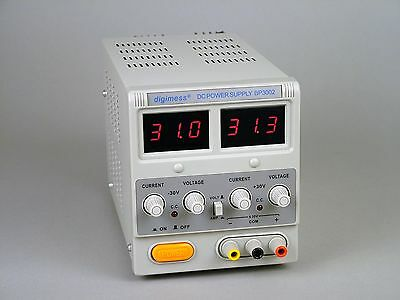 USED digimess BP3002 plus 0-30V 2A and minus 0-30V 2A dc dual power supply led